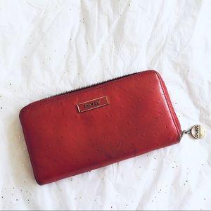 Red DKNY Ostrich Leather Zip Around Wallet